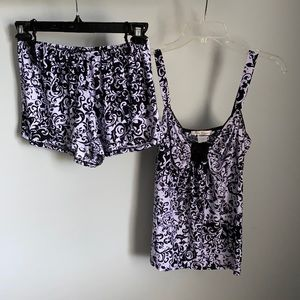 Linea Donatella ladies black and purple sleepwear